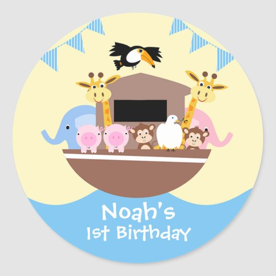 Noah's Ark Birthday Favour Sticker