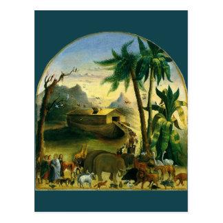Noah's Ark by Hidley, Vintage Victorian Folk Art Postcard