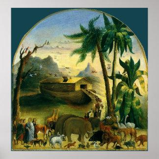 Noah's Ark by Hidley, Vintage Victorian Folk Art Print