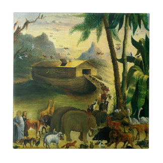 Noah's Ark by Hidley, Vintage Victorian Folk Art Tile