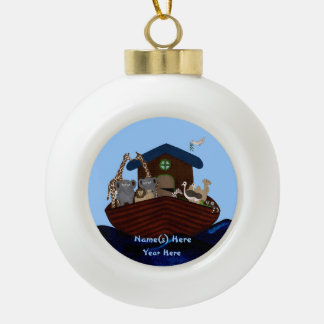 Noah's Ark Ceramic Ball Christmas Ornament