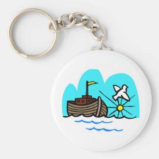 Noah's ark Christian artwork_1 Basic Round Button Key Ring