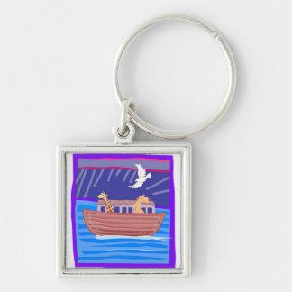 Noah's ark Christian artwork_2 Silver-Colored Square Key Ring