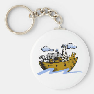 Noah's ark Christian artwork_3 Basic Round Button Key Ring