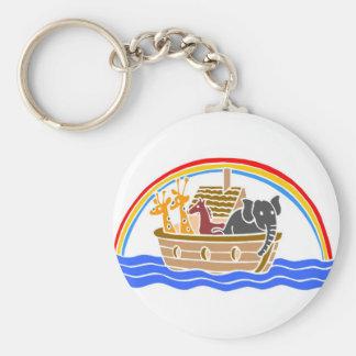 Noah's ark Christian artwork_4 Basic Round Button Key Ring