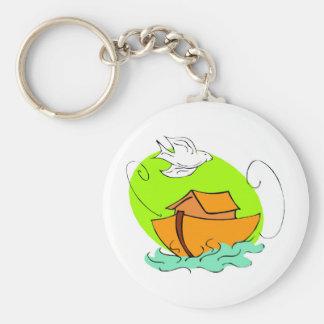 Noah's ark Christian artwork_5 Basic Round Button Key Ring