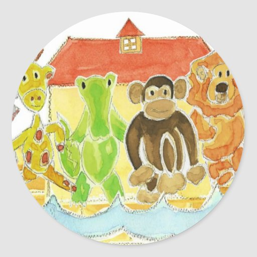 Noah's Ark Critters Round Stickers