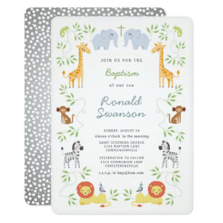 Noah's Ark Cute Animal Frame Baptism invitation