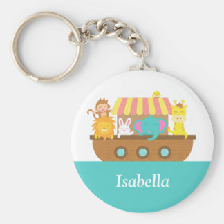 Noah's Ark, Cute Animals for kids Basic Round Button Key Ring