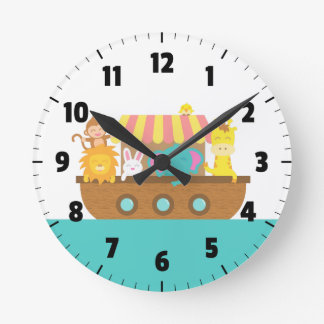 Noah's Ark, Cute Animals, for Kids Room Round Clock