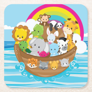 Noahs Ark Cute Animals Toddlers Fun Design Square Paper Coaster