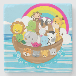 Noahs Ark Cute Animals Toddlers Fun Design Stone Coaster