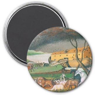 noahs ark folk art painting 7.5 cm round magnet