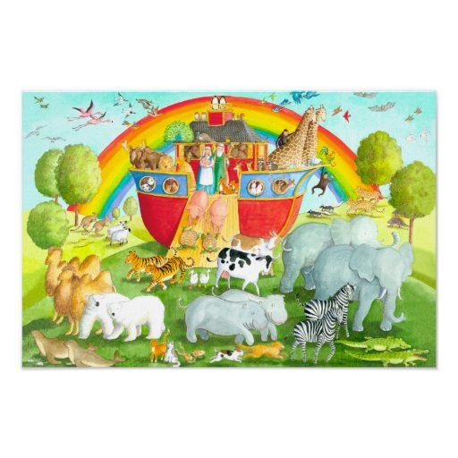 Noah's Ark Happy Landing Illustration Poster