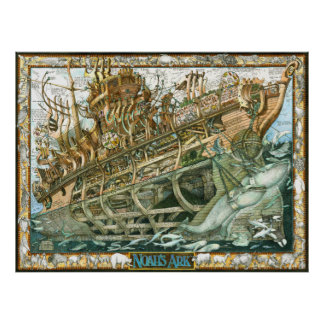 Noah's Ark illustration with cutaway of the boat Poster
