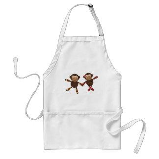 Noah's Ark monkey Couple in love holding hands Standard Apron