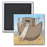 Noah's Ark - No Cats Allowed Square Magnet