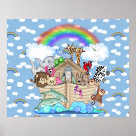 NOAHS ARK Rainbow NURSERY DECORATION Poster