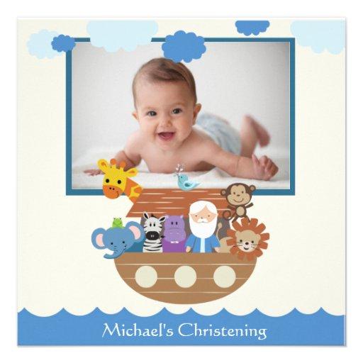 Noah's Ark Square Christening Invitations Personalised Announcement
