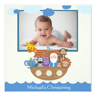 Noah's Ark Square Christening Invitations