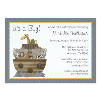 Noah's Ark Yellow Dots Baby Shower 13 Cm X 18 Cm Invitation Card