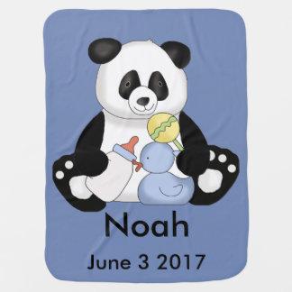 Noah's Personalized Panda Baby Blanket