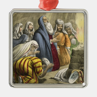 Noah's Sacrifice on Leaving the Ark, from a bible Silver-Colored Square Decoration