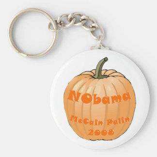 NObama McCain Palin 2008 Jack-o-lantern Halloween Basic Round Button Key Ring