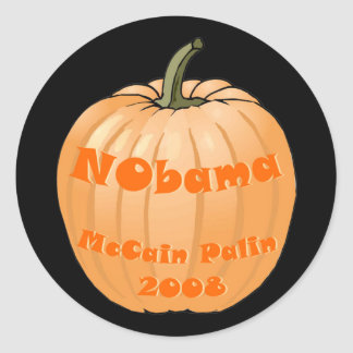 NObama McCain Palin 2008 Jack-o-lantern Halloween Round Sticker