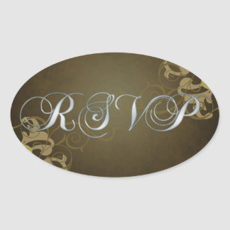 Noble Gold Scroll Brown Rsvp Sticker
