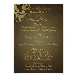 Noble Gold Scroll Brown Wedding Menu Card