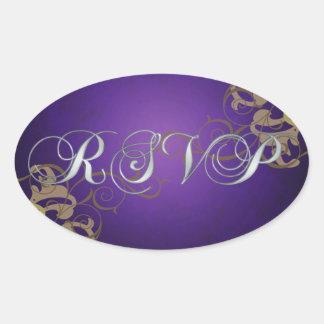 Noble Gold Scroll Purple Rsvp Sticker