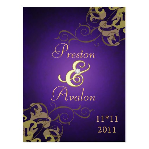Noble Gold Scroll Purple Save The Date Postcard