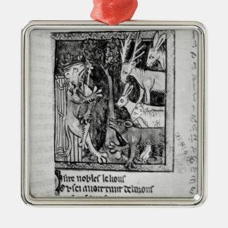 Noble holding, illustration 'Roman de Renart' Silver-Colored Square Decoration