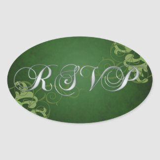 Noble Lime Scroll Green Rsvp Sticker