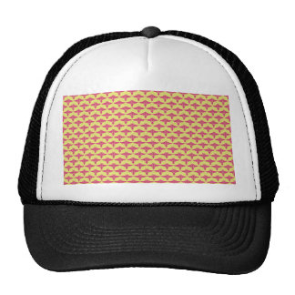 Noble pink eagle wings on rough yellow surface mesh hat