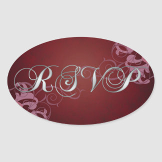 Noble PInk Scroll Red Rsvp Sticker