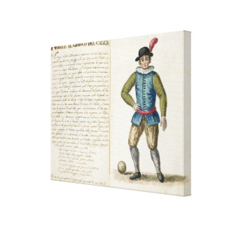 Nobleman playing football, Venetian (manuscript) Canvas Print