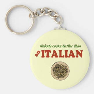 Nobody Cooks Better than an Italian Basic Round Button Key Ring