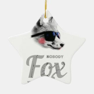 Nobody Fox With Me Animal Sunglasses Funny Ceramic Star Decoration