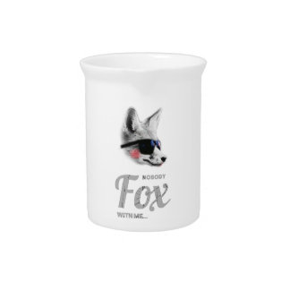 Nobody Fox With Me Animal Sunglasses Funny Pitcher