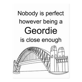 Nobody is Perfect -Being a Geordie is close enough Postcard