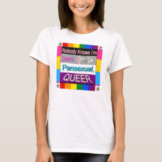 Nobody Knows I'm Demi Sapio Pansexual QUEER Tee