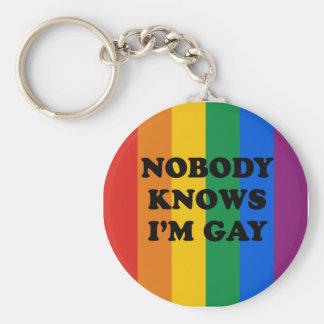 NOBODY KNOWS I'M GAY BASIC ROUND BUTTON KEY RING