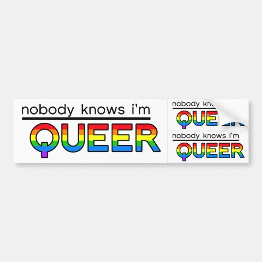 """""""Nobody Knows I'm Queer"""" Decal (3-in-1)"""