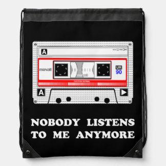 Nobody Listens Cassette Drawstring Bag