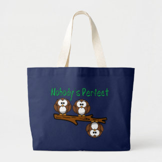 Nobody's Perfect Owls in Tree Large Tote Bag