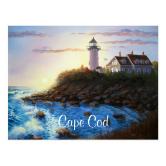 Nobska Lighthouse Cape Cod MA Painting Postcard
