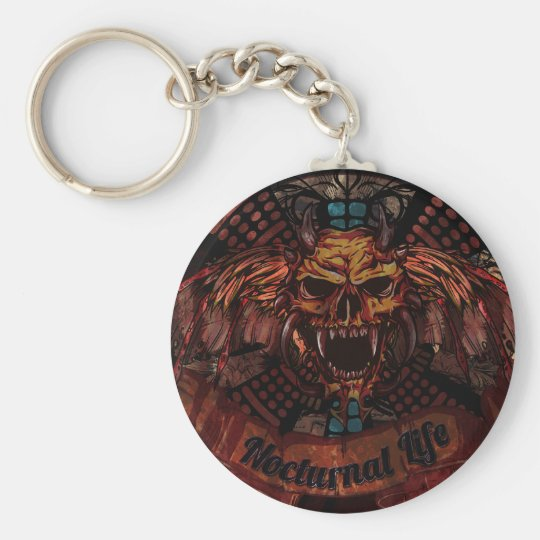 Nocturnal Life Skull Basic Round Button Key Ring