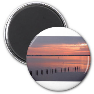 Nocturnal Paddle Boarder Departs 6 Cm Round Magnet